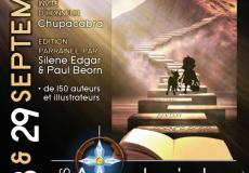 Affiche salon Aventuriales 2019 - 28 et 29 septembre 2019 - Invité d'honneur Chupacabra - parrain Paul Béorn - Marainne Silène Edgar