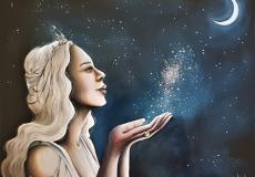 Varda , reine des étoiles .Créatrice des étoiles , elle alluma les lampes des valar, recueillie la rosée de lumière des arbres des valar et plaça la lune et le soleil dans les cieux . inspiré de l&#039;oeuvre de J.R.R Tolkien &quot; le silmarion&quot;<br /> Technique : huile sur toile