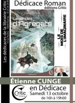 Dédicace roman - Éditions Critic : Étienne Cunge